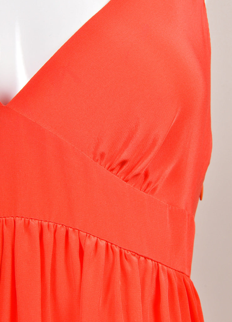 Miguelina New With Tags Poppy Red Sulma Silk Maxi Dress Detail