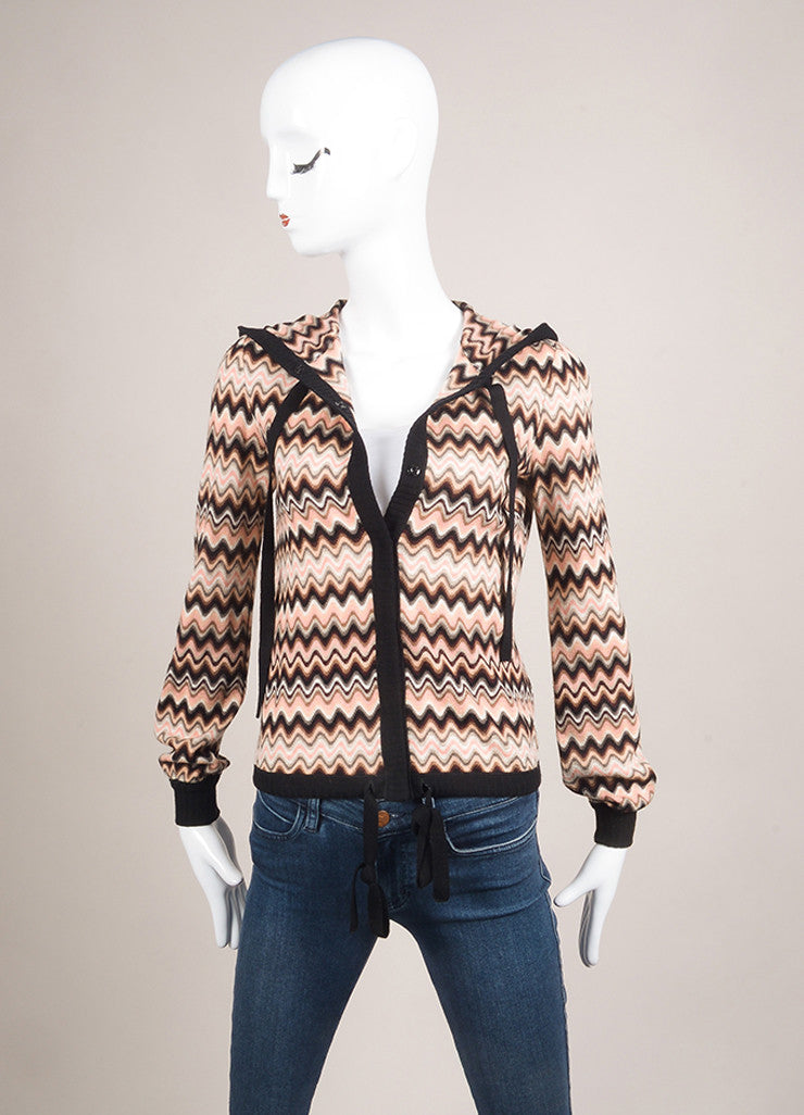 Missoni Multicolor Wave Print Hooded Wool Sweater Frontview