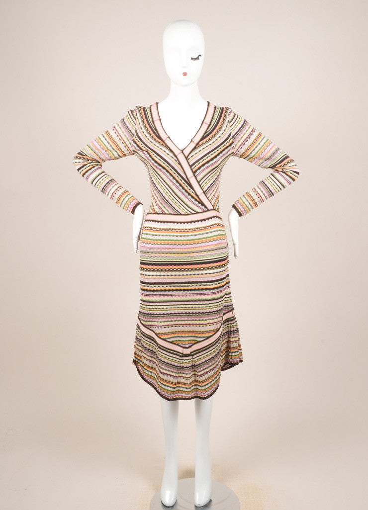 Missoni Multicolor Wool Blend Knit Long Sleeve A-Line Dress Frontview