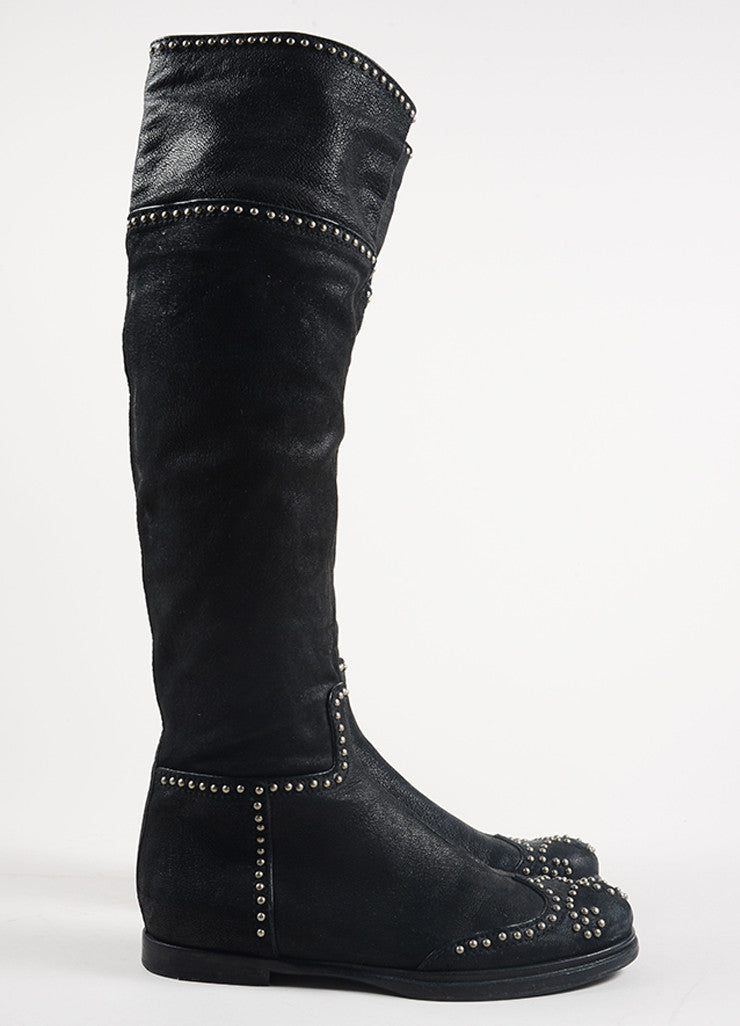 Miu Miu Black and Silver Toned Leather Studded Knee High Flat Boots Sideview