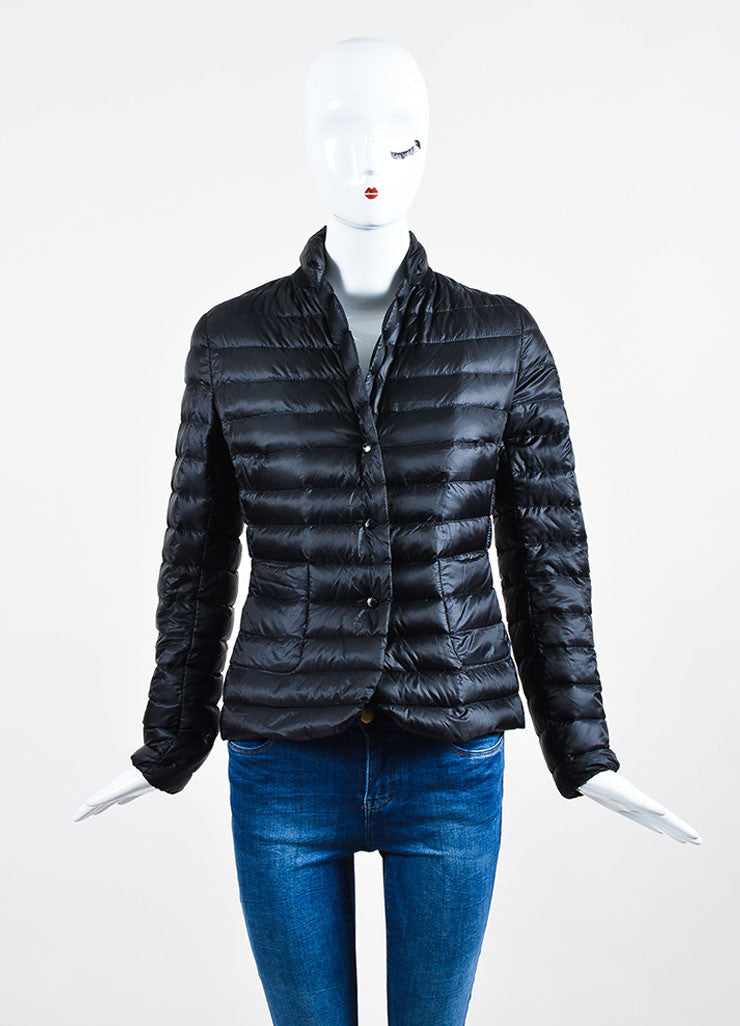 "Black Moncler Nylon Down Quilted ""Leyla"" Puffer Jacket Frontview 2"