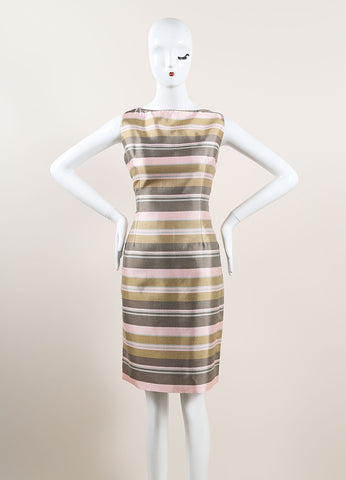 Nina Ricci Grey, Pink, and Multicolor Satin Knit Stripe Sleeveless Sheath Dress Frontview