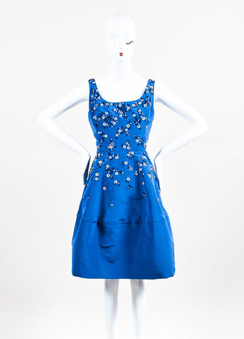 Oscar de la Renta Blue Silk Taffeta Floral Embellished A-Line Dress Frontview
