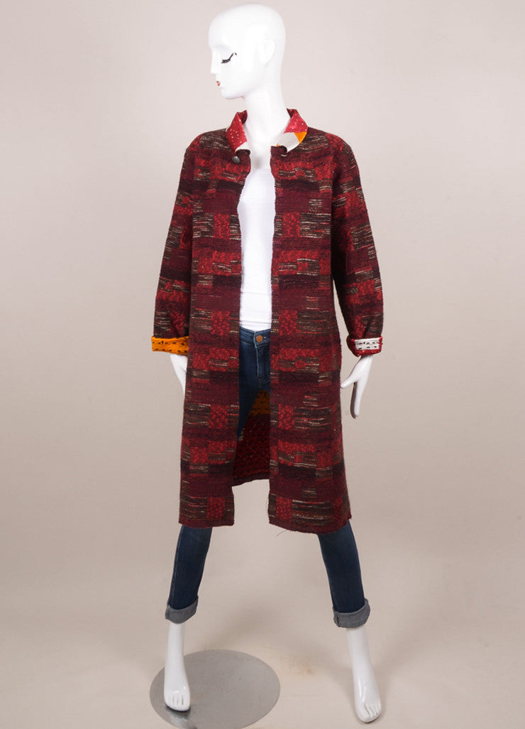 Oscar de la Renta  Red Wool and Silk Tweed Reversible Coat Frontview