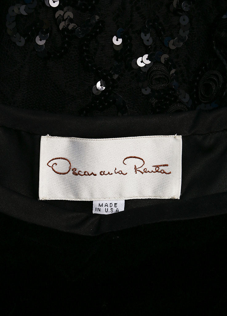 Oscar de la Renta Black Velvet Mesh Sequin Trim Sleeveless Cocktail Dress Brand