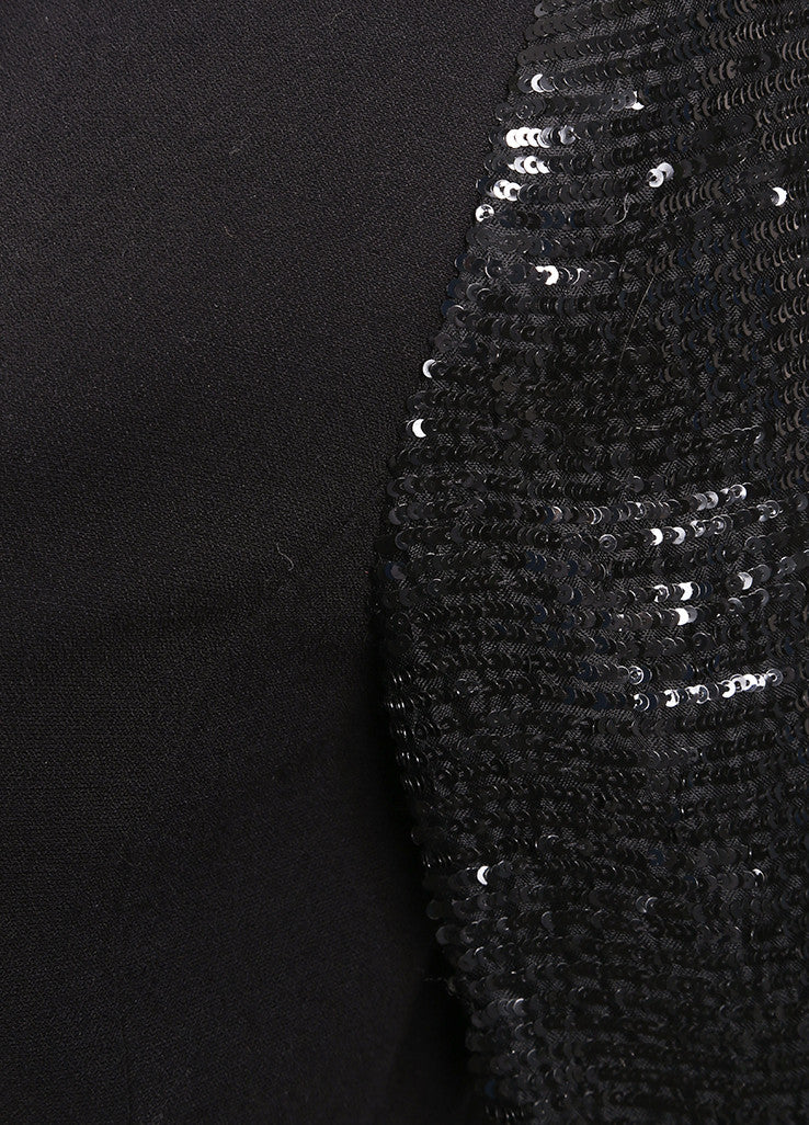 Oscar de la Renta Black Wool Blend Sequin Long Sleeve Jacket Detail