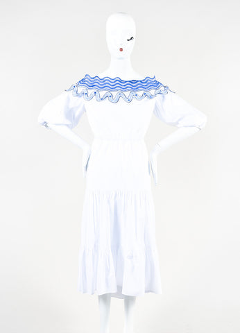 "Peter Pilotto White Embroidered Off The Shoulder ""Pallas"" Dress Frontview"