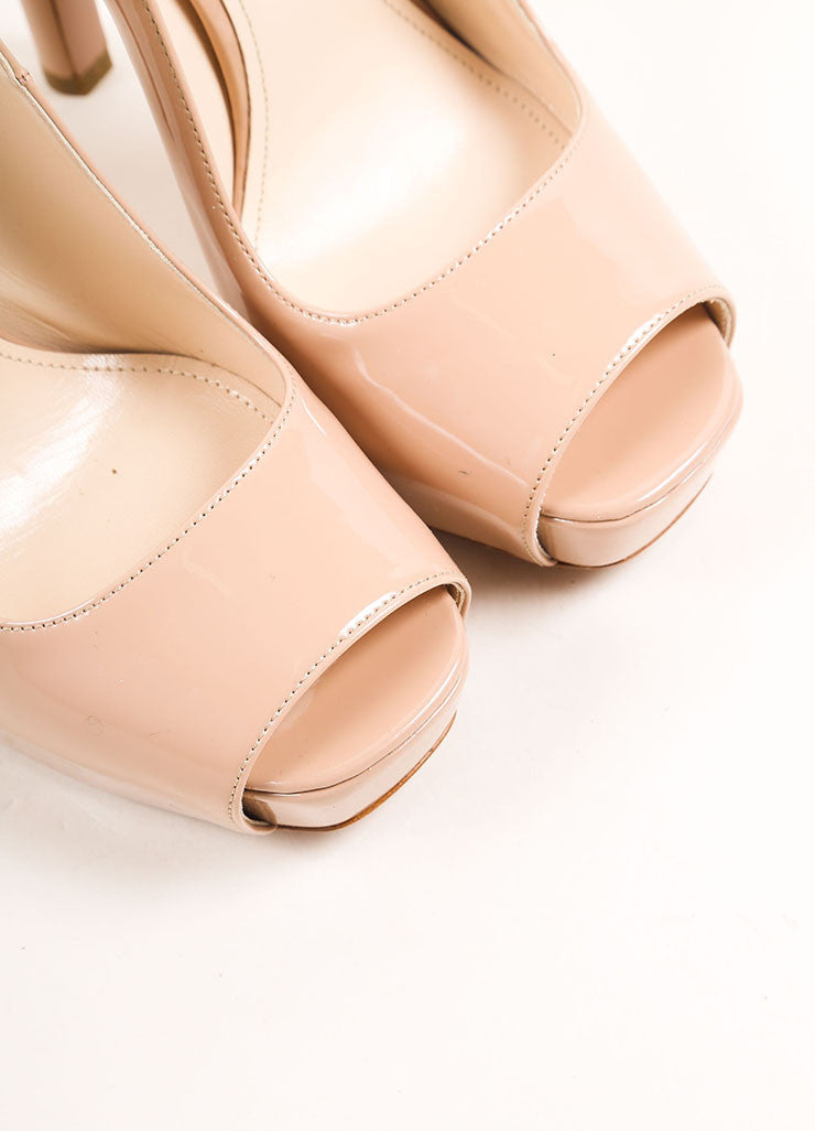 Prada Nude Patent Leather Square Peep Toe Pumps Detail