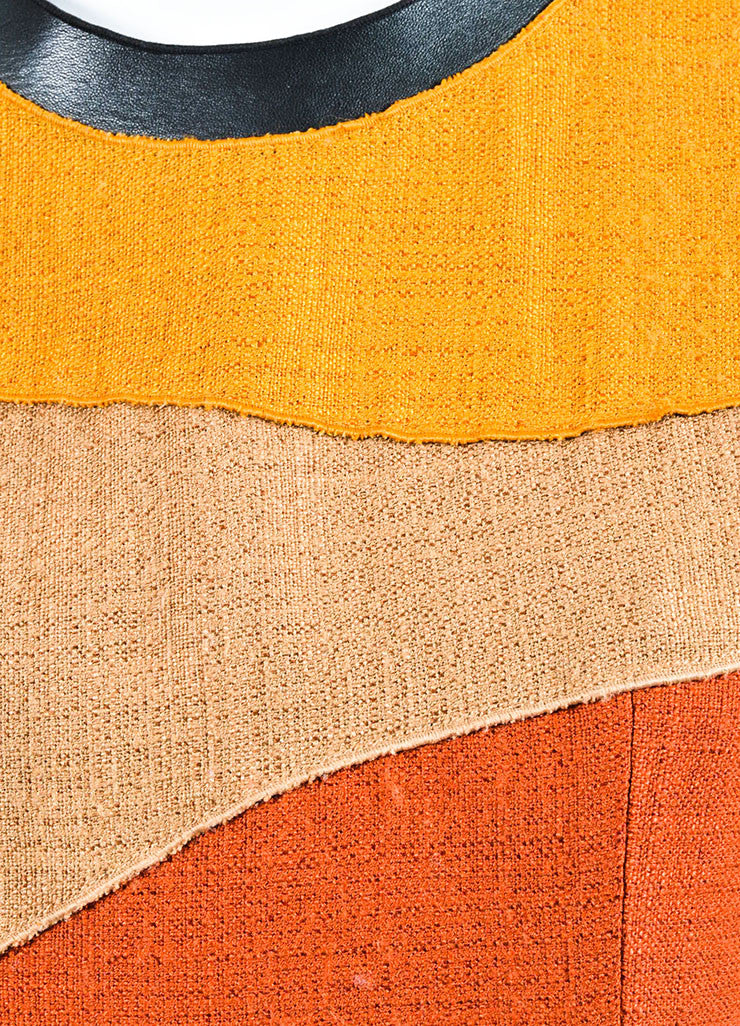 Proenza Schouler Yellow, Tan, and Rust Woven Wool Color Block Sleeveless Shift Dress Detail