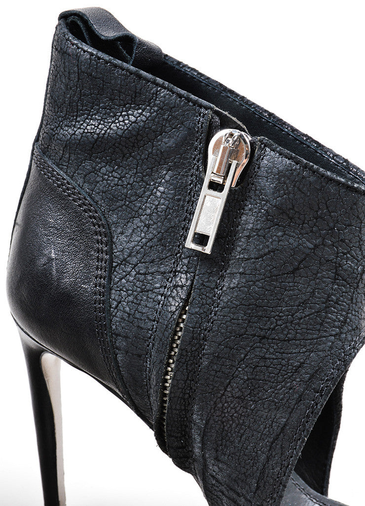 Rick Owens Black Leather Open Toe Heeled Booties Detail