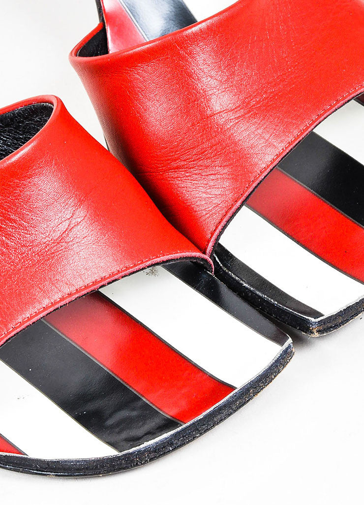 Robert Clergerie Red Black Leather Striped Open Toe Mule Heels Detail