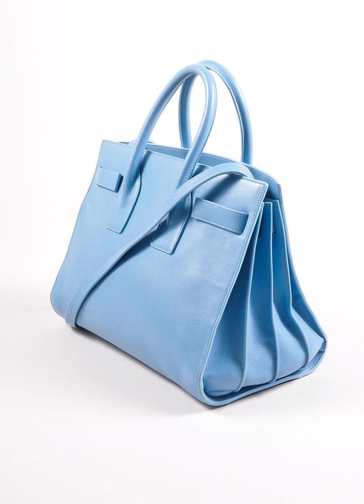 "Saint Laurent Light Blue Leather ""Small Sac du Jour"" Satchel Handbag Sideview"