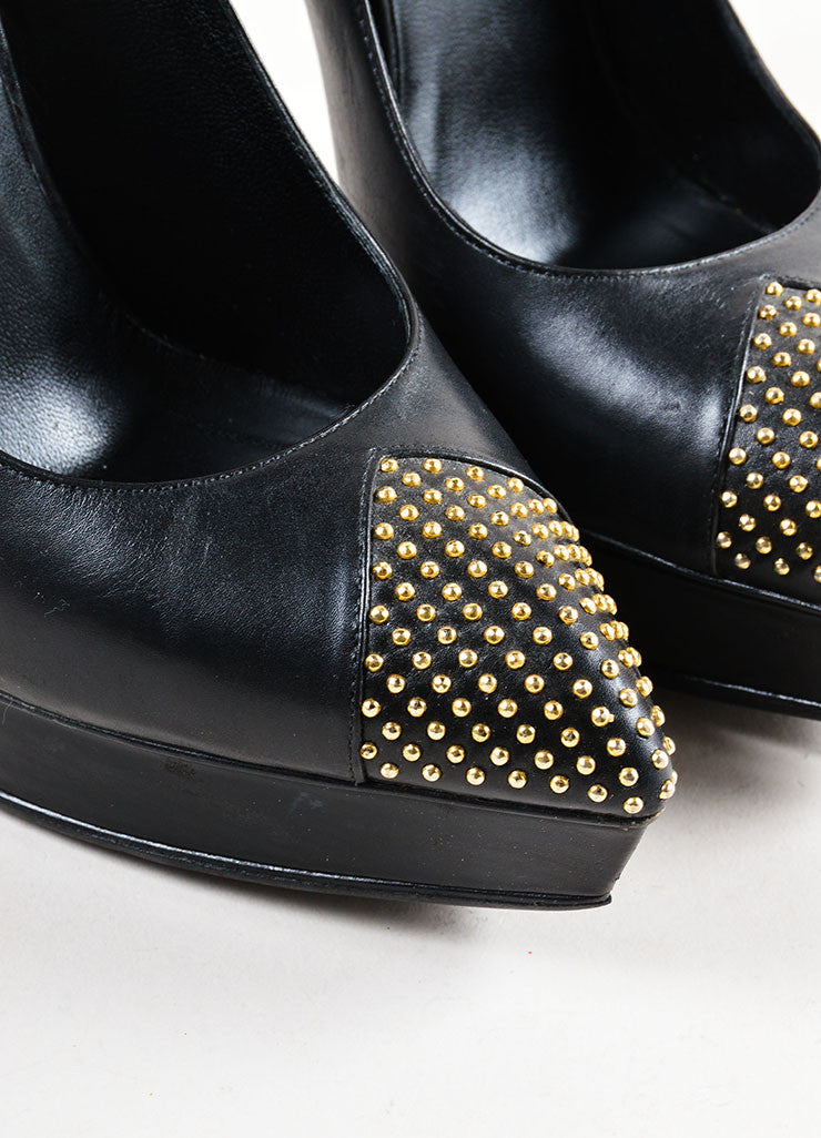 Black Leather Studded Cap Pointed Toe Saint Laurent Platform Heels Detail