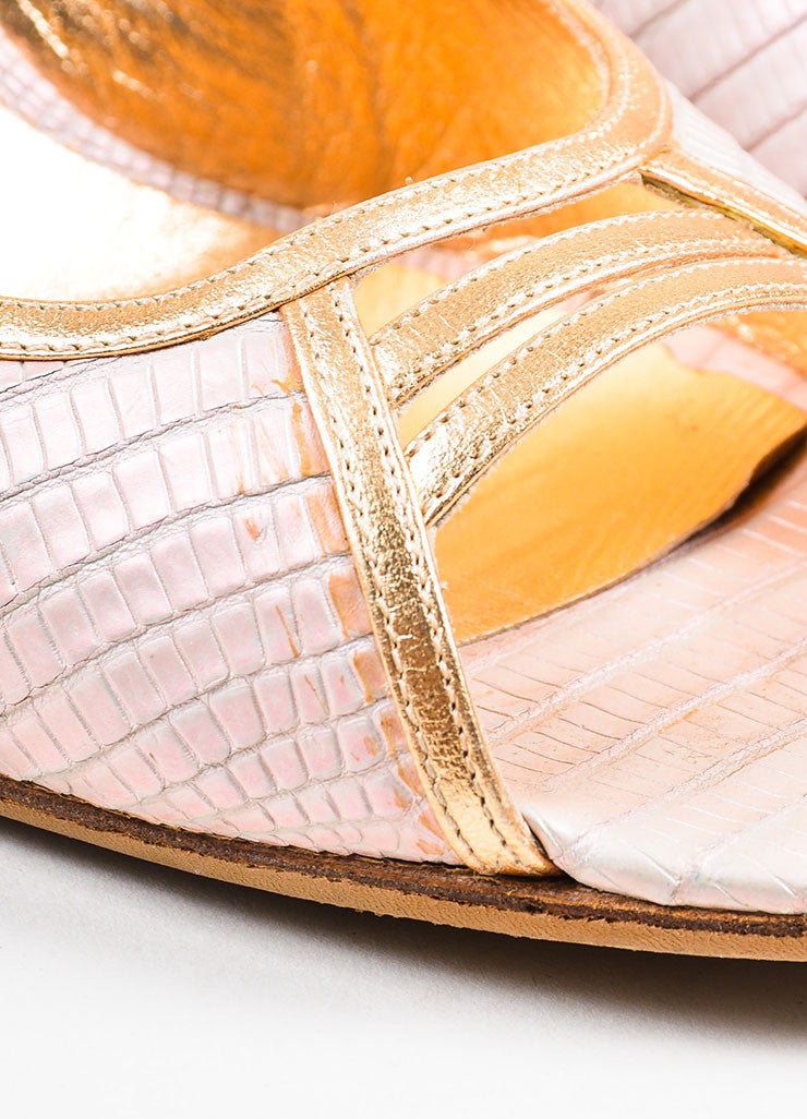 Sergio Rossi Pink Leather Snake Embossed Iridescent Peep Toe Pumps Detail