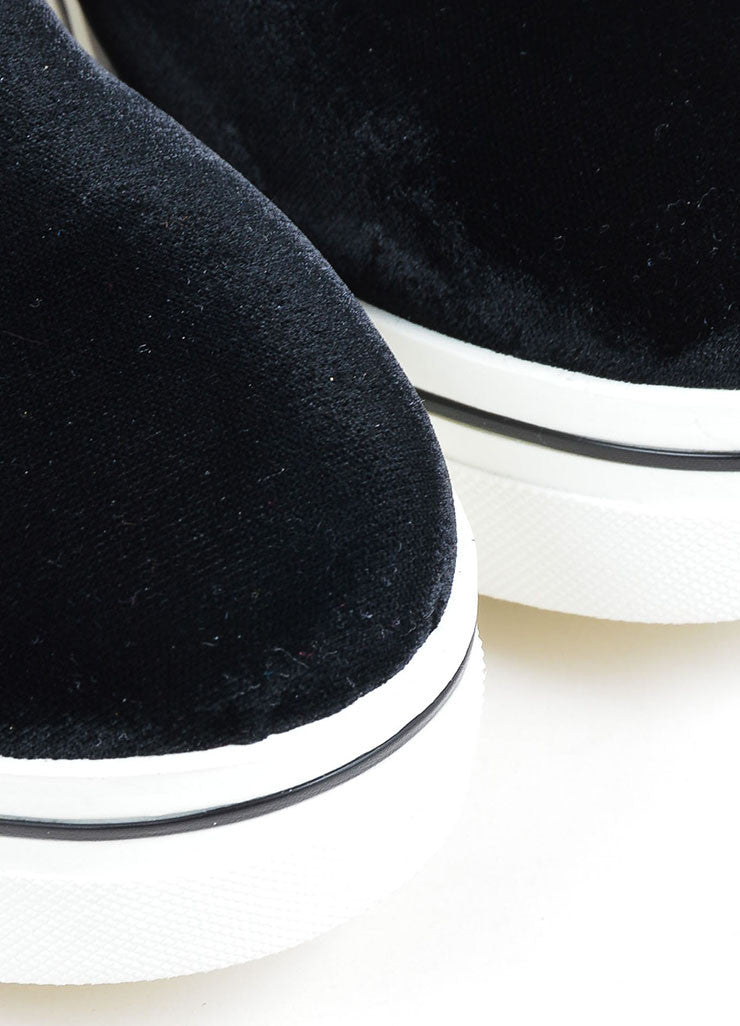 "Black Stella McCartney Velvet ""Binx"" Horsebit Platform Loafers Detail"