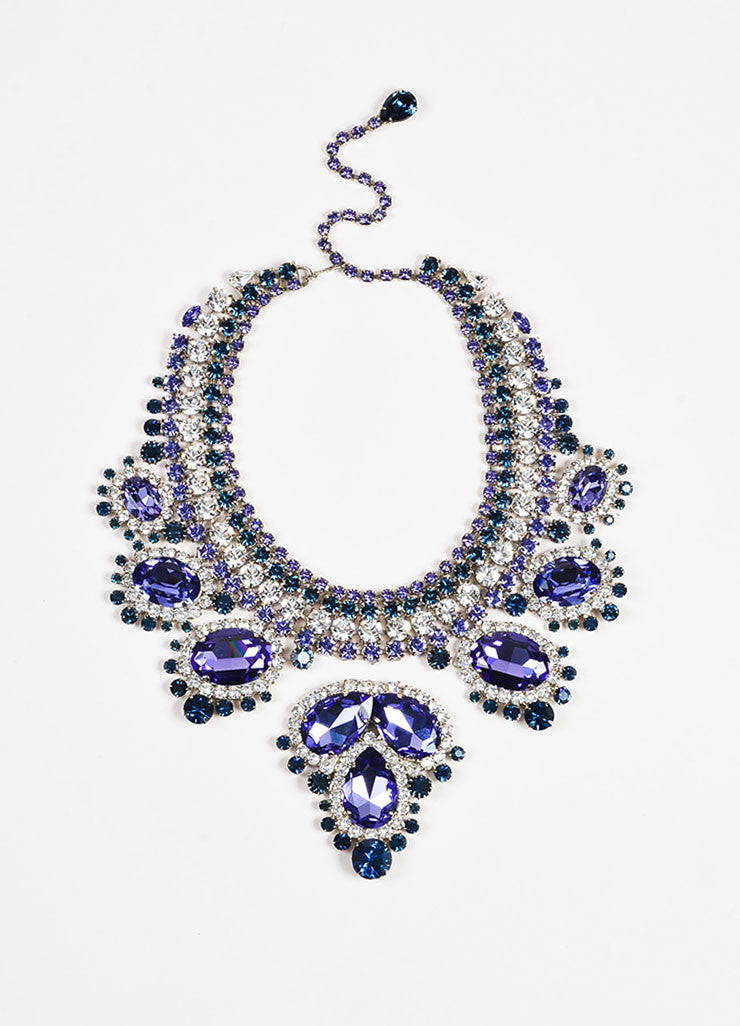 Thorin & Co. Purple, Navy, and Clear Rhinestone Gem Embellished Necklace Front