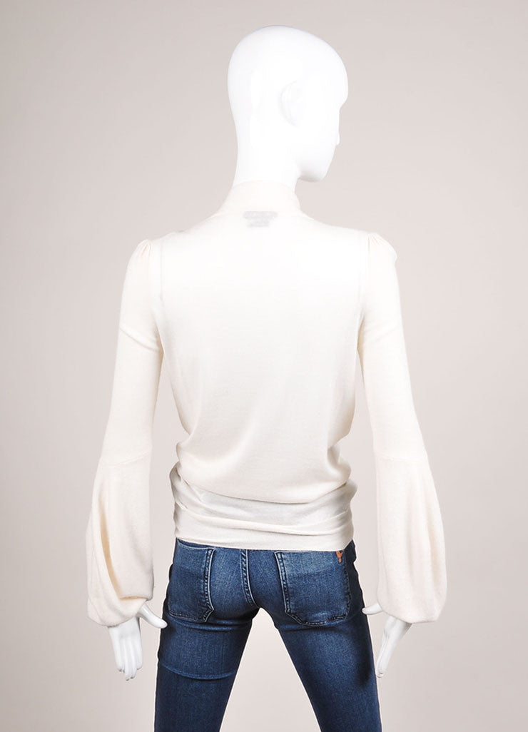 Tom Ford Cream Sheer Cashmere Neck Tie Sweater Backview