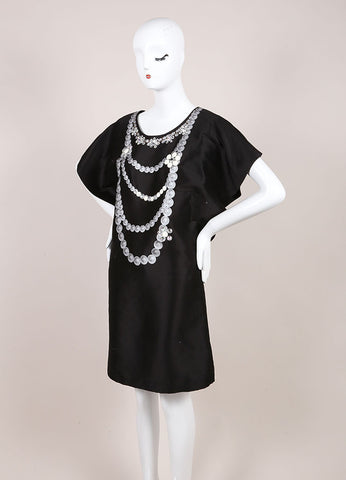 Tsumori Chisato New With Tags Black Beaded Necklace Print Dress Sideview