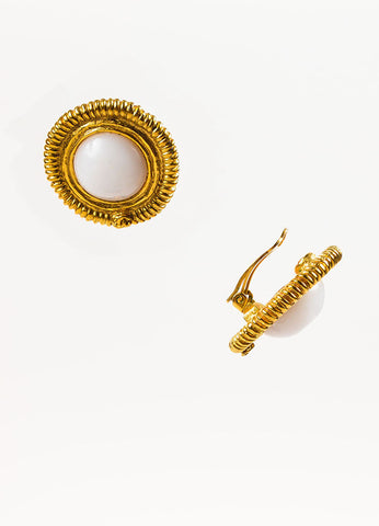 Chanel Gold Toned and Faux Pearl 'CC' Ribbed Clip On Button Earrings Sideview