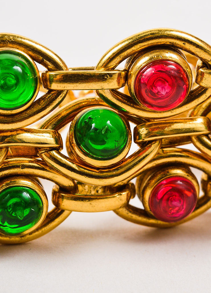 Chanel Gold Toned, Pink, and Green Gripoix Stone Multi Strand Link Bracelet Detail