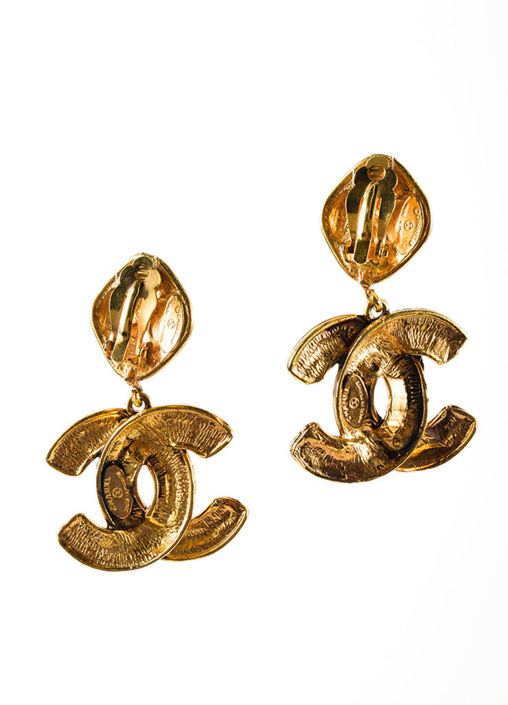 "Gold Toned Chanel Quilted ""CC"" Drop Earrings Backview"