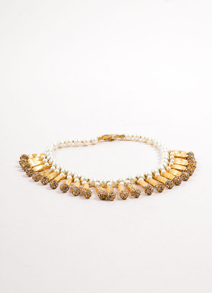 Vintage Faux Pearl and Gold Toned Rhinestone Dangling Choker Necklace Sideview