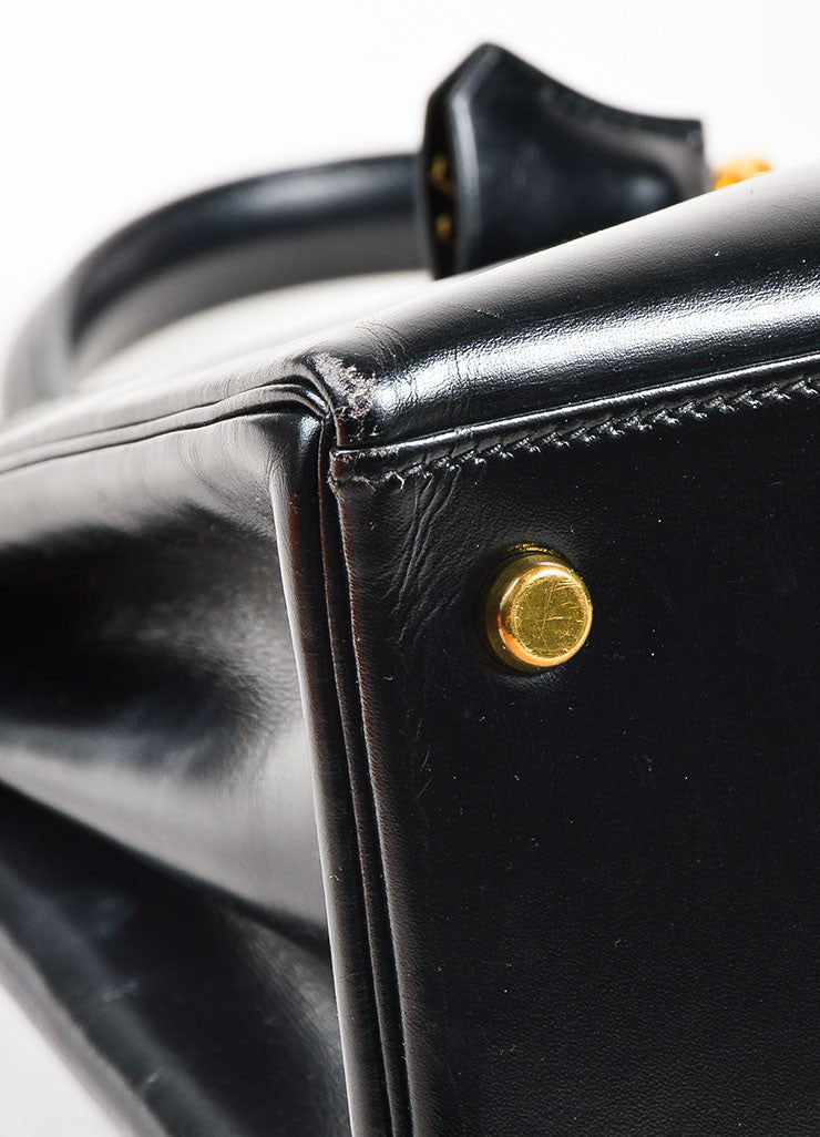 "Hermes Black Box Calf Leather ""Kelly"" Flap Handbag Detail"