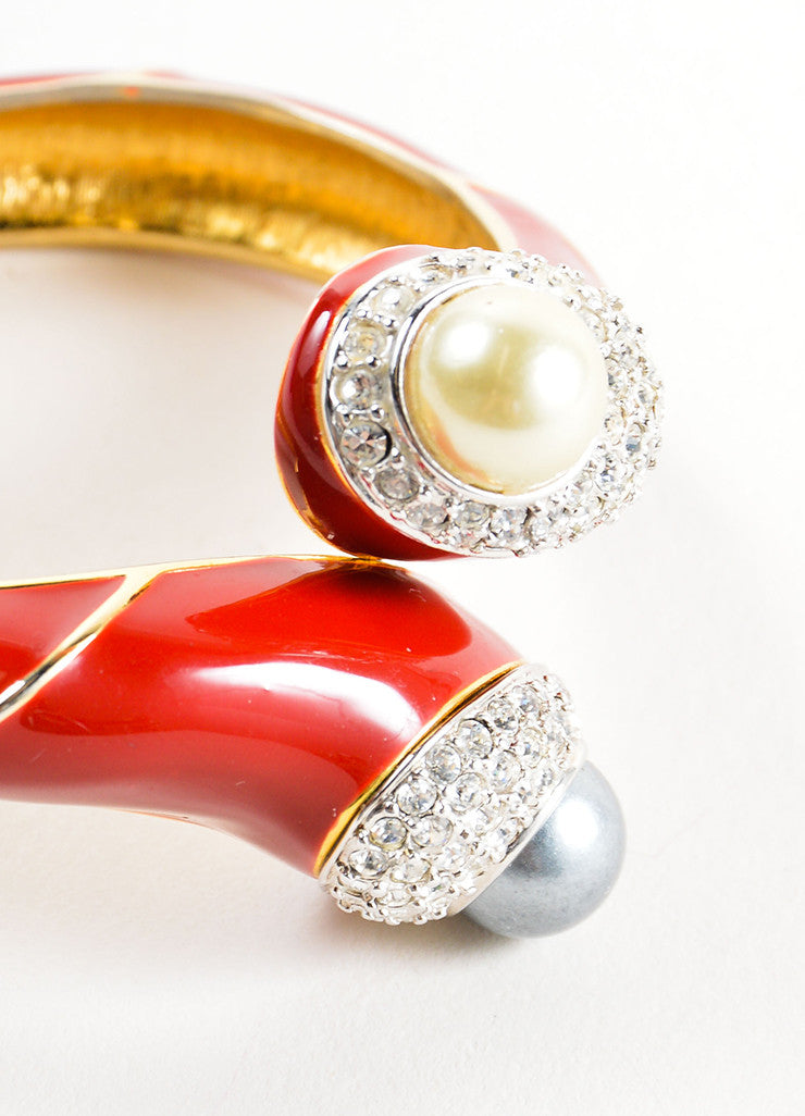 Kenneth Jay Lane Red Enameled Faux Pearl and Rhinestone Bangle Bracelet Detail
