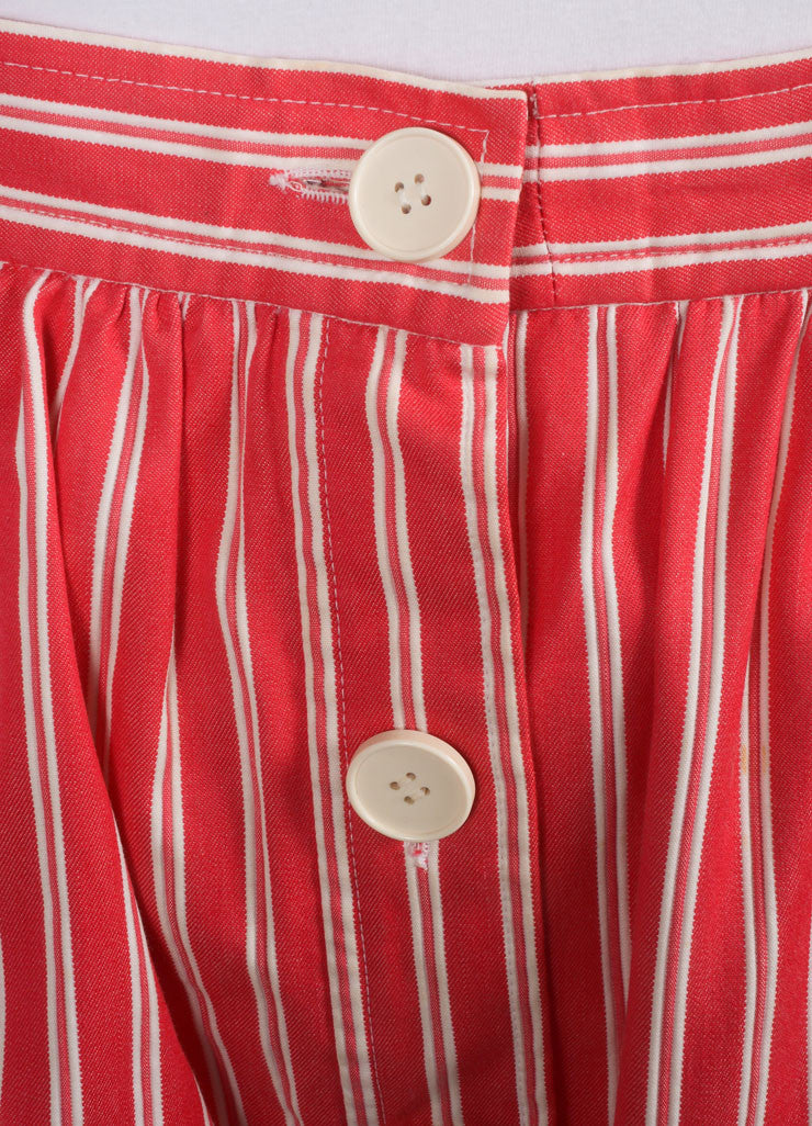 Saint Laurent Red and White Tweed Knit Pinstripe Pleated Skirt Detail