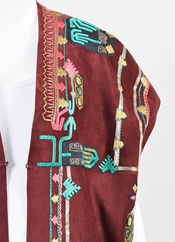 Valentino Burgundy, Green, and Gold Suede Embellished Poncho Detail