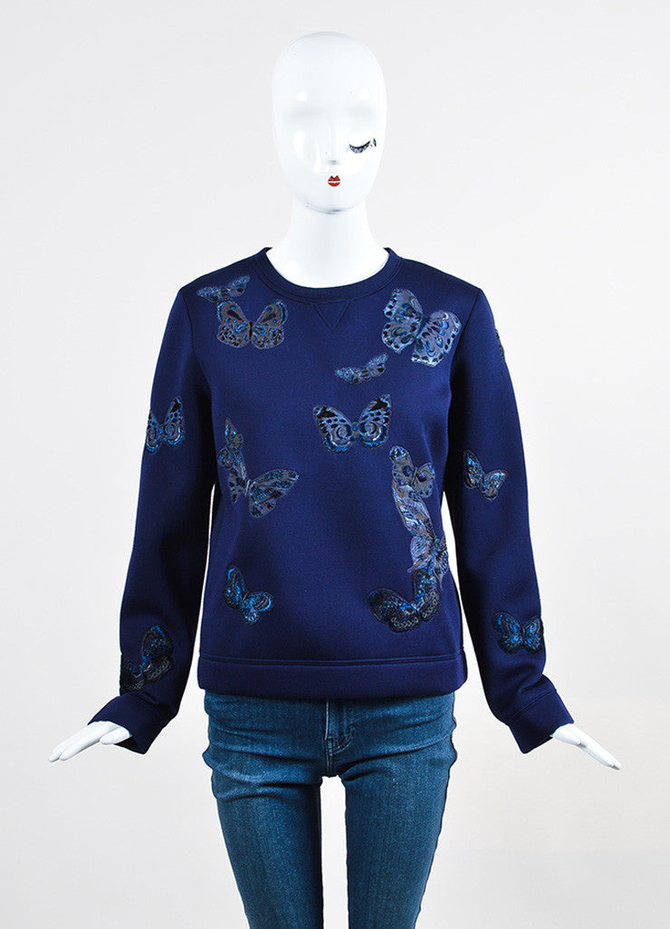Navy Blue Valentino Scuba Knit Butterfly Embroidered Sweatshirt Frontview