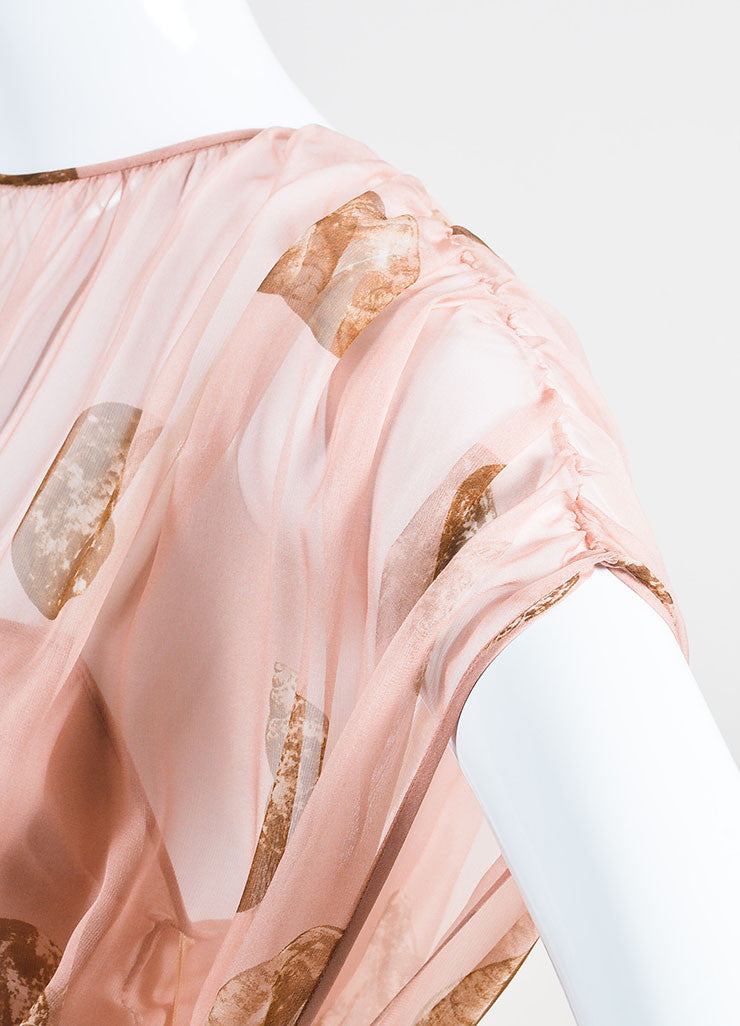 Pale Pink and Brown Valentino Silk Seashell Printed Blouson Gown Detail