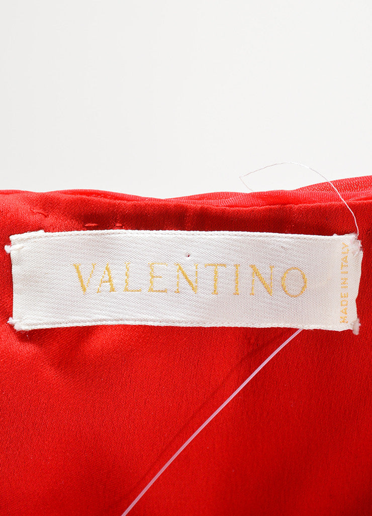 Valentino Red Chiffon Sweetheart Strapless Ruched Straight Empire Gown Brand
