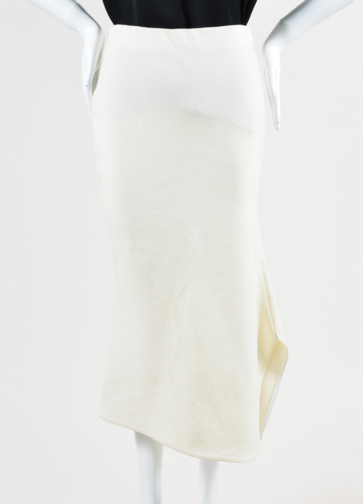 Cream Victoria Beckham Wool Asymmetrical Vent Pencil Midi Skirt Frontview