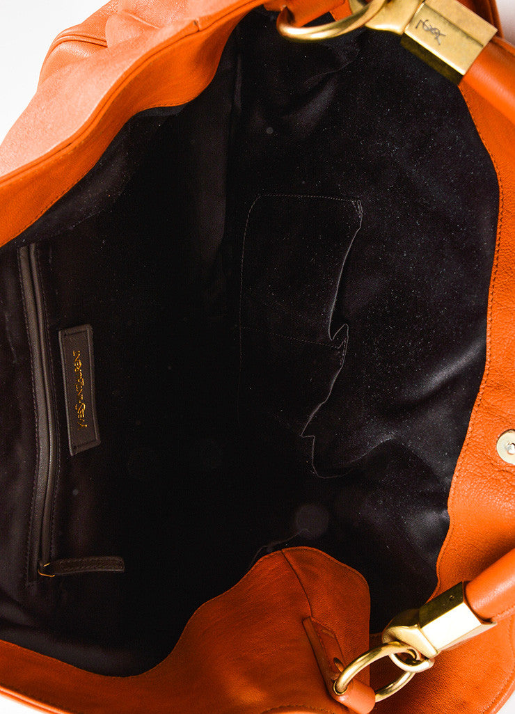 "Yves Saint Laurent Orange Leather ""Roady"" Tote Bag Interior"