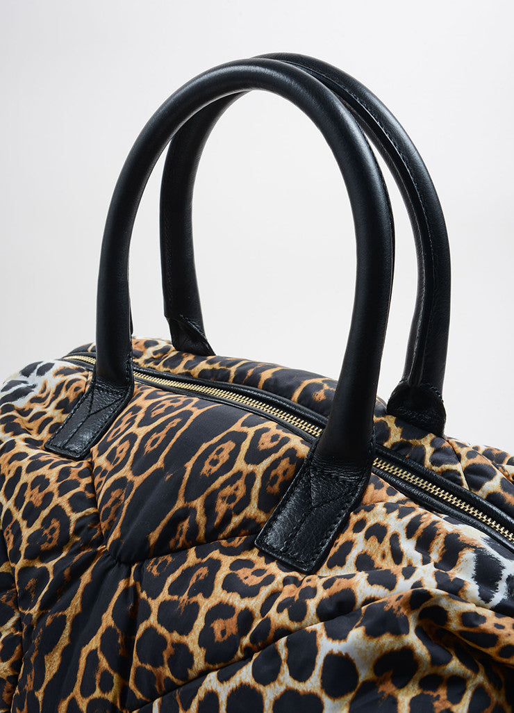 "Yves Saint Laurent Brown, Black, and Cream Nylon Leopard Print ""Muse"" Bag Detail 2"