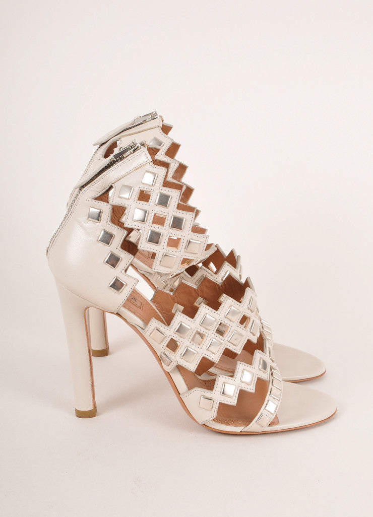 Alaia Grey and Silver Toned Studded Strappy Leather High Heel Sandals Sideview