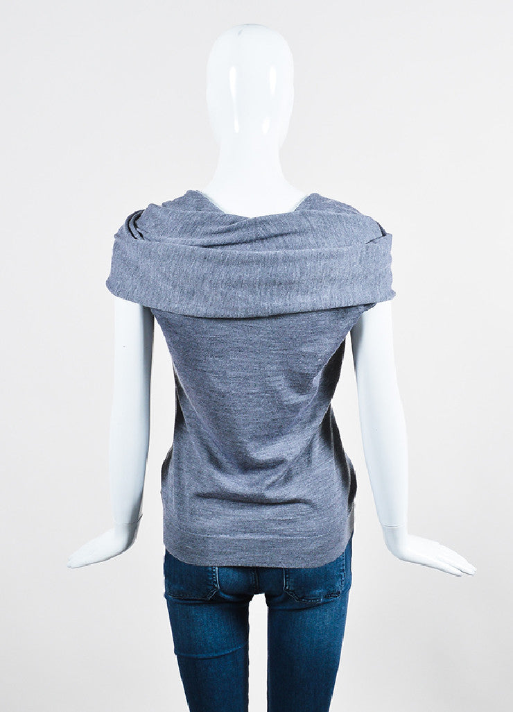 Grey Alexander McQueen Cashmere, Silk, and Wool Cap Sleeve Poncho Shawl Top Backview
