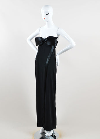 Azzaro Black Satin Spaghetti Strap Maxi Gown Side