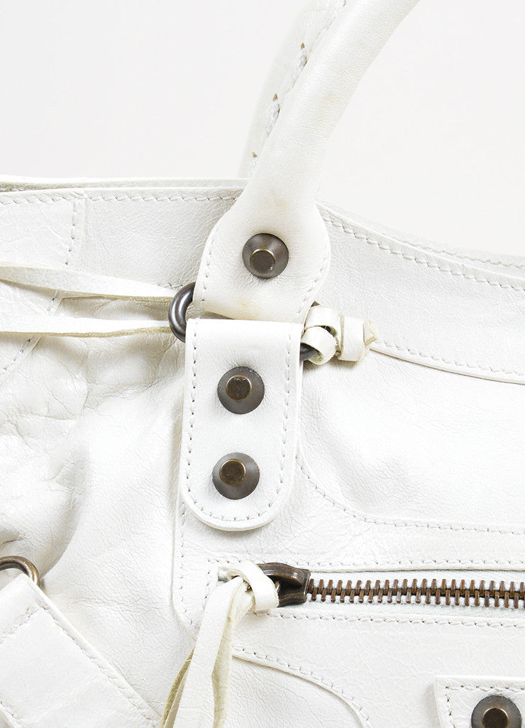 "Cream White Balenciaga Leather ""Classic City"" Satchel Detail 2"
