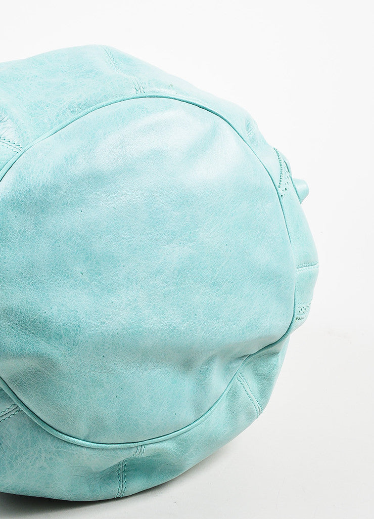 "Balenciaga Mint Green Leather ""Giant 21 Covered Brogues Pompon"" Bag Bottom View"