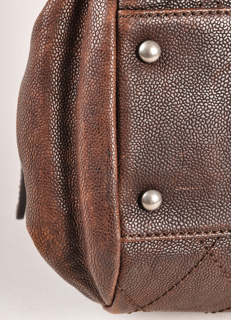 Chanel Brown Leather Quilted Bowler Satchel Handbag Detail