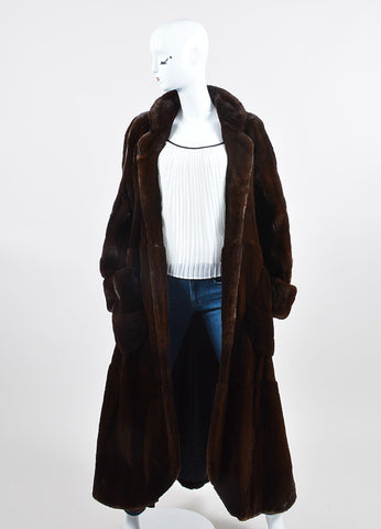 Brown Bisang Long Fur Coat Frontview