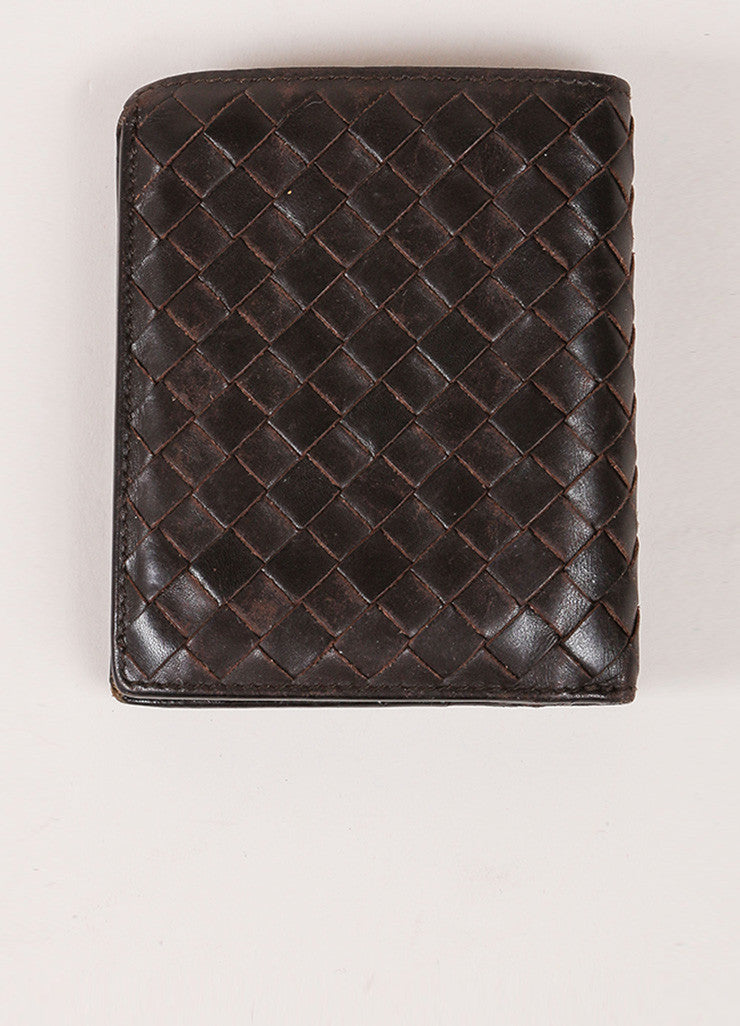 Bottega Veneta Brown Woven Leather Wallet Backview