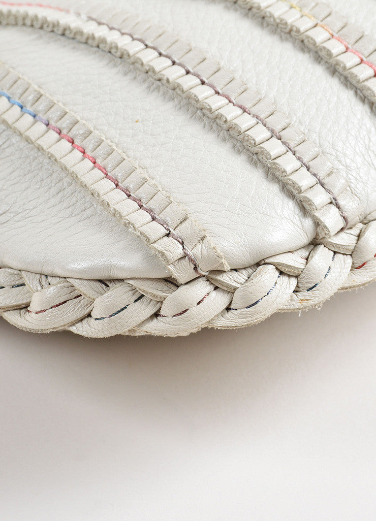 Bottega Veneta Cream and Beige Leather Rolled Mini Hobo Bag Detail