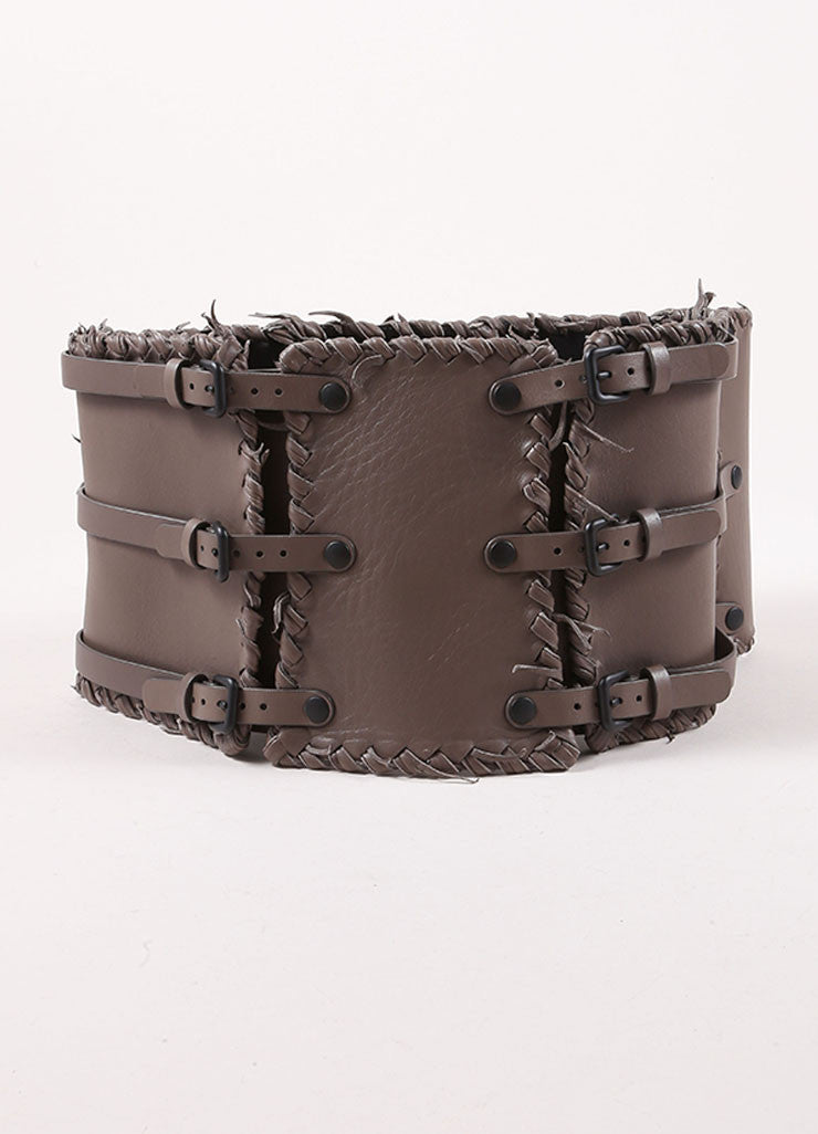 Bottega Veneta Grey Leather Woven Waist Belt Frontview