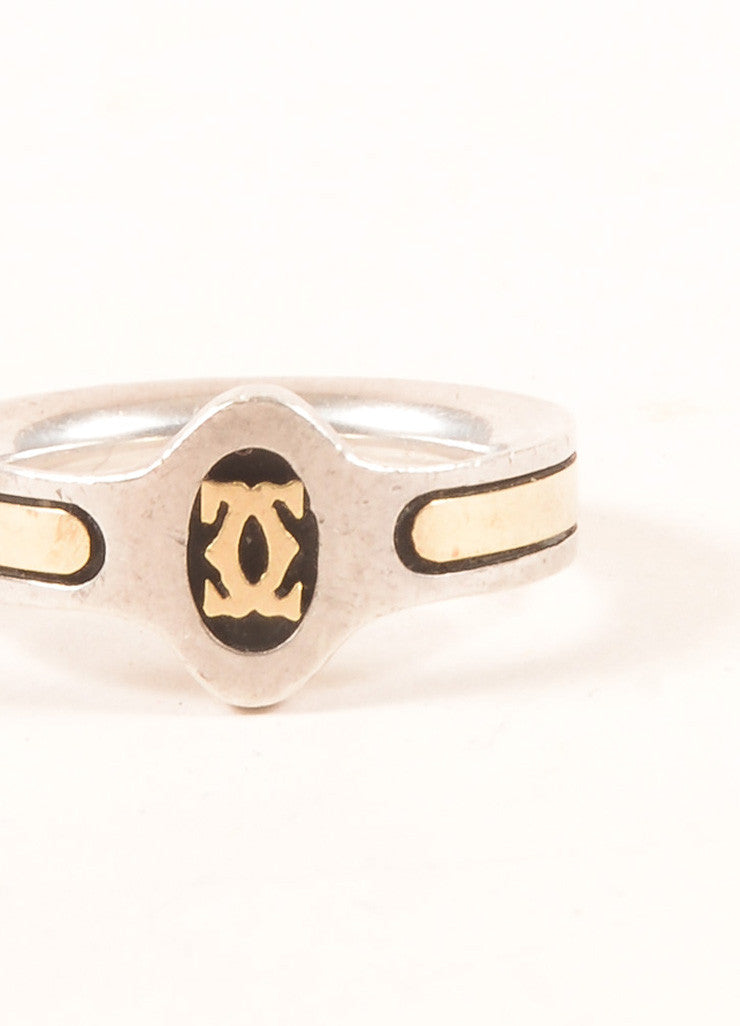 "Cartier 18K Gold and Sterling Silver ""CC"" Logo Engraved Ring Detail"