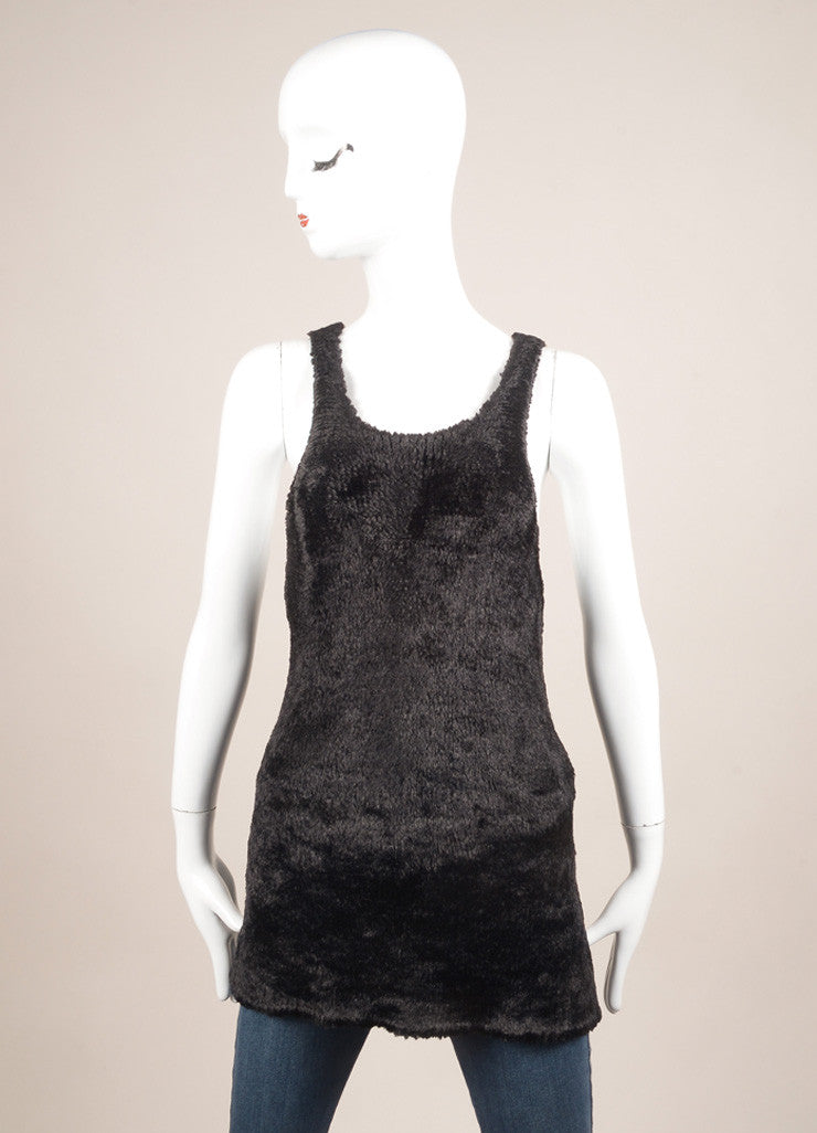 Celine Black Faux Fur Knit Sleeveless Racer Back Top Frontview