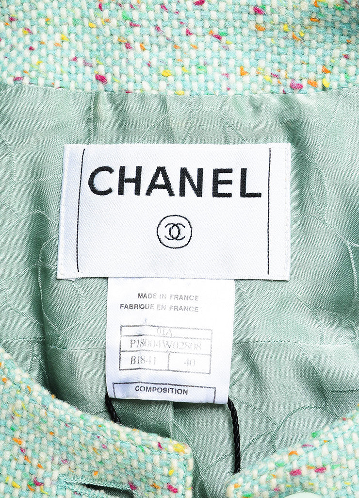 Chanel Light Green Wool Blend Color Flecked 'CC' Button Tweed Jacket Brand