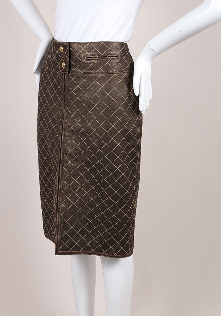 Chanel Brown and Bronze Leather Metallic Quilted Pencil Skirt Sideview